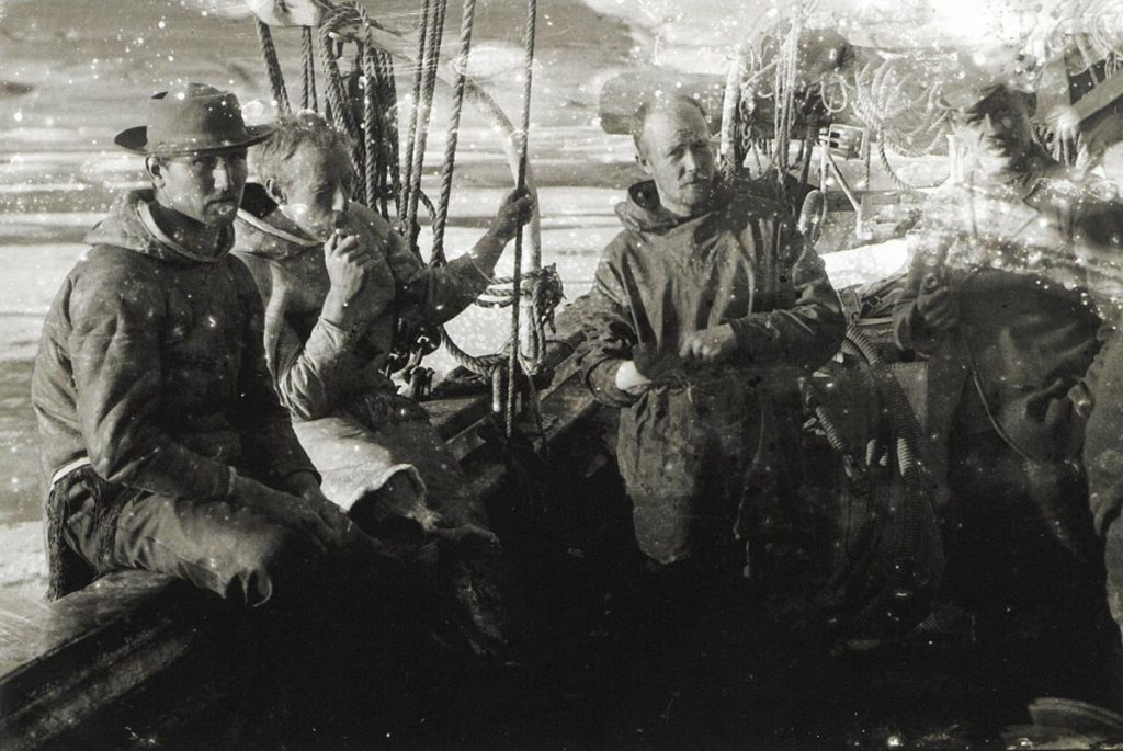 Part of the Gjøa's crew — Gustav Juel Wiik, Roald Amundsen, Peder Ristvedt and Anton Lund — on deck in the Northwest Passage.